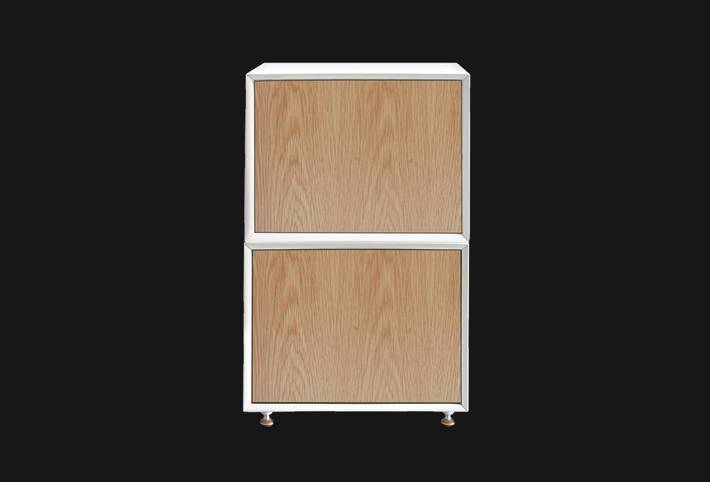 QMS Cabinet : White with Oak Doors
